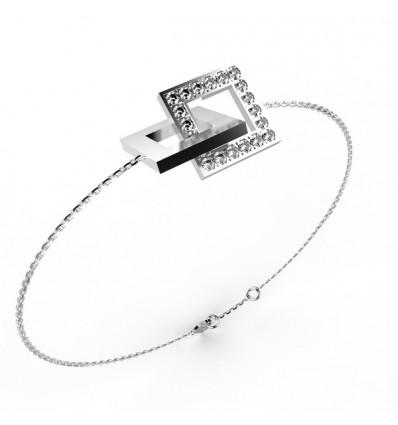 Bracelet anneaux carre or et full chaine or