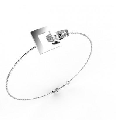 Bracelet anneaux rond carré chaine or