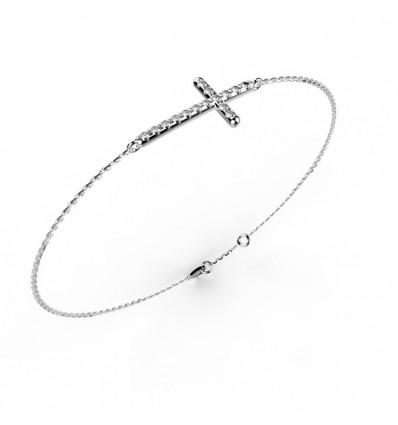 Bracelet croix or gris