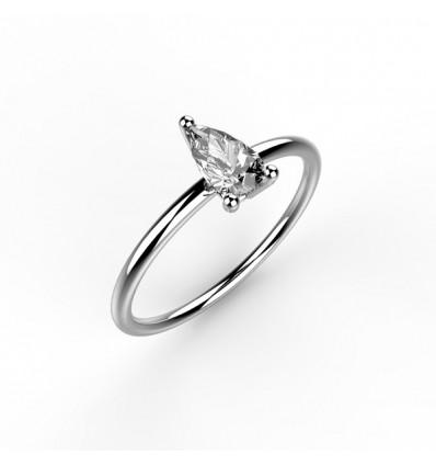 Bague anneau solitaire poire