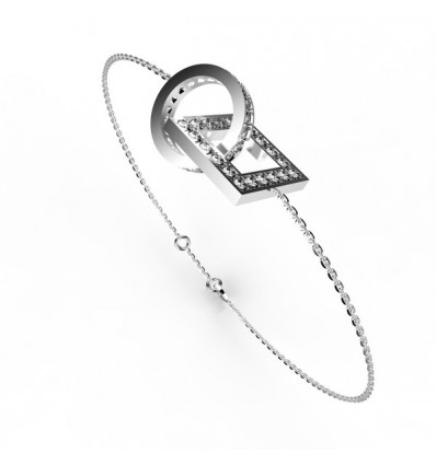 Bracelet anneaux carre et rond fullfull or
