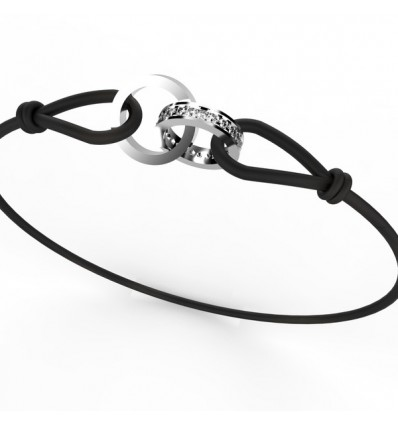 Bracelet anneaux rond cordon
