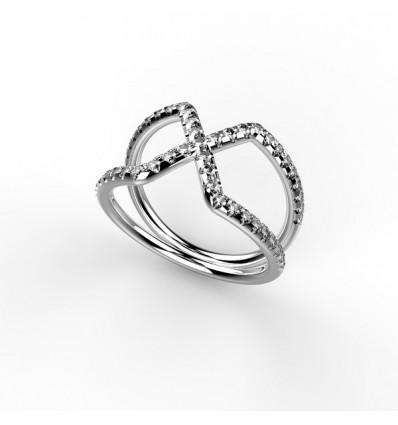 Bague cross ring large or gris