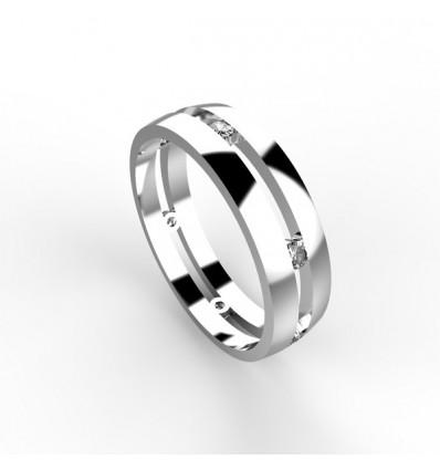 Alliance homme 6 diamant or