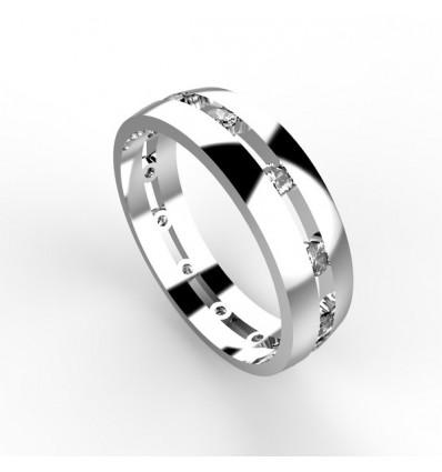 Alliance homme 12 diamants or